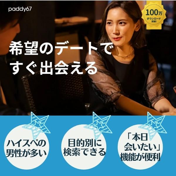 名古屋で人気のパパ活アプリ/サイト「Paddy67(パディロクナナ)」